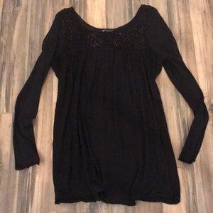 INC Flowy Black Long Sleeves Tunic Large